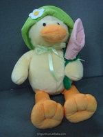 Cute plush stuffed toy love birds stuffed plush toy bird duck with flower