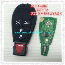 ca remote keys for chrysler dodge jeep fobik #3 4+panic button 434mhz electric 46chip with uncut small key
