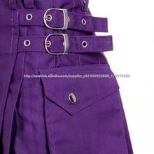 Señoras Púrpura Utilidad Moda Ultra Modern Kilt Falda