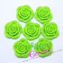 Fashionable Jewelry Accessories Green Resin Flower Hair Accessories For Kids Chunky Jewelry
