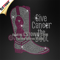 Give The Cancer Boot Custom Pink Iron On Rhinestone T-shirt Transfer