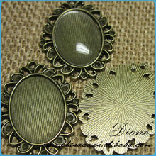 pendant tray bezel antique bronze frame cameo cabochon picture setting with 18mm x 25mm domed glass cabochons