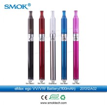 Ecig variable voltage ego battery led with 650/900/1100/1300mAh wholesale Smok ego eMax vv vw battery