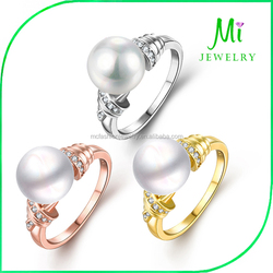 Amazon trade jewelry European and American wholesale stars rose gold plated pearl ring
