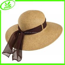 Wide brim beach summer hat hot sale lady folding straw hat