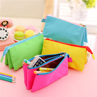 korean stationery colorful zipper canvas multilayer large capacity smiggle pencil case
