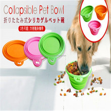 Wholesale Portable Travel Folding Retractable Silicone Pet bowl Dog Cat Water Food Feeding Bowl,silicone pet food water bowl