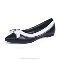2015 autumn winter vintage style Bowknot Pointed Flat Heels Work Shoes White Black Shoes Women Pumps Casual Shoes