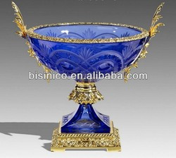 Bisini Luxury 24K Gold Plated Bronze & Crystal Center Piece Fruit Bowl/Fruit Tray/Compote Home Decoration Art MOQ 1 Piece