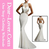 Sexy White Open Back Fine Flowers Mermaid Wedding Party dress
