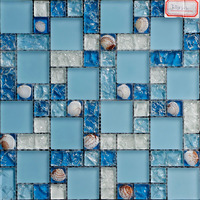 Factory price 300mm*300mm luminous glass mosaic tile,Blue light light glow mosaic
