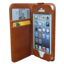 Custom logo wallet cell phone case cover for iph 5
