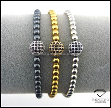 High quality stainless steel beads and CZ micro pave brass shamballa bracelet