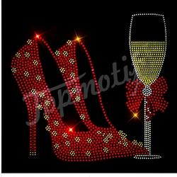 custom colorful High heel shoes motif iron on rhinestone transfers