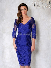 Top Fashion 2015 Royal Blue Red Lace Evening Dresses Free Shipping Three Quarter Knee Length Applique Mother of the Bride Dress