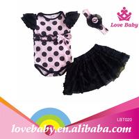 Little white polka dots baby romper with tutu skirt
