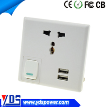 2015 wall socket charger 13a promotion design US/UK/EU Wall usb charger 2usb ports