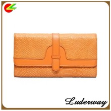 Trendy wholesale embossed snake skin PU ladies wallets money bag with hasp in orange