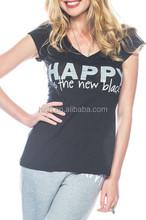 Custom T-Shirt Designs 100% Cotton V-Neck T shirt in Black
