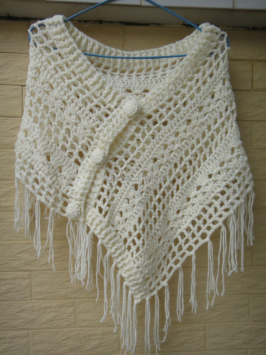 Crochet Pattern For Bohemian Shawl : Bohemian Fringe Crochet Shawl Wrap Poncho Women Pashmina ...