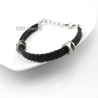 316I Stainless Steel Chain Clasp Unisex Black Braided Rubber Band Bracelet