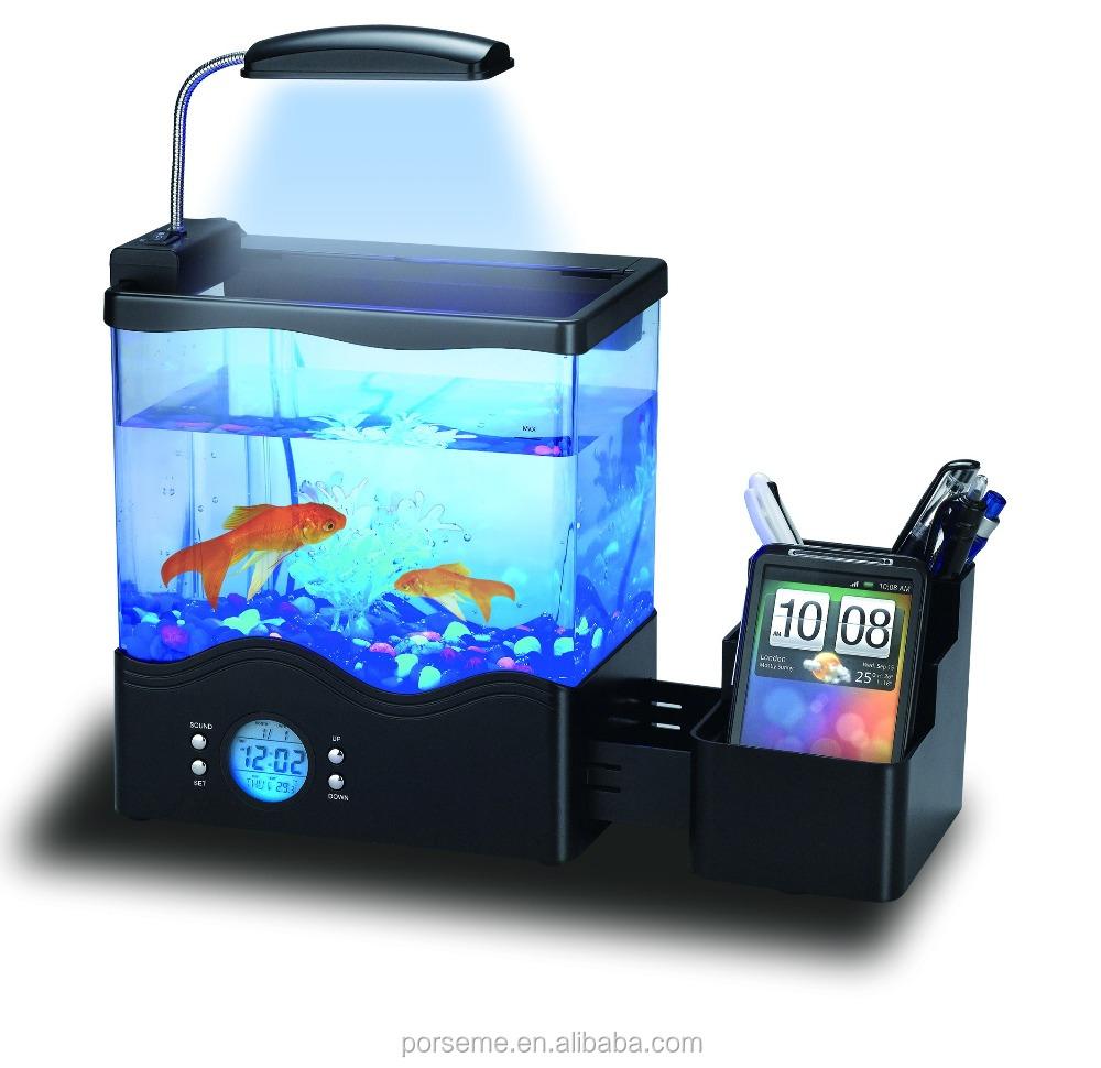 Usb desktop mini aquarium fish tank lcd clock led lamp new for Usb fish tank