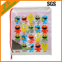 Promotional Cheap eco-friendly waterproof logo printing plastic drawstring gift bag