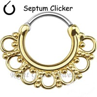 Surgical Steel Hinged Nose Ring Hoop Tribal Fan Indian 16G Septum Clicker