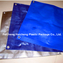 PP Rope Reinforced Hem Double Blue Color PE Coated Fabric Woven