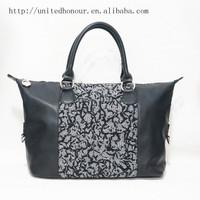 fancy crochet knitting bag wool felt young ladies metal zipper handbag ethnic bags