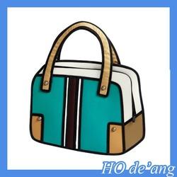HOGIFT 3D Jump Style 2D Drawing Cartoon Paper Bag 3D Handbag Bag 3d Totes Bag
