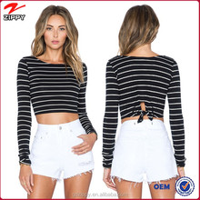 Top with Sexy Black and White Stripes Ladies Sexy Crop Tops Wholesale