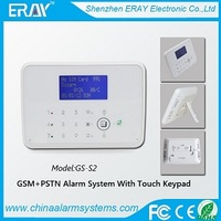 GSM PSTN wireless alarm support 30wireless/4wired defense zones for house/office/bank/store/warehouse