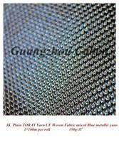 colored 3K plain carbon fiber cloth mixed blue metallic yarn