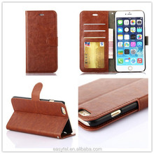 2015 wallet genuine leather phone case for iphone 6,three wallet leather phone case for iphone 6