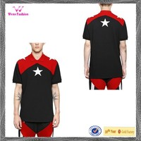 Five-pointed Star Patch Black Red White Pique Polo Shirt