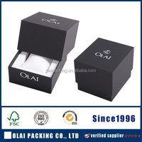 Lid and base watch case,brands paper watch packaging,black watch packaging box