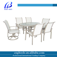 Oval glass table and 6 seaters jardin garden furniture