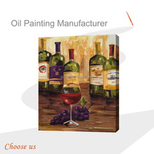 Pure Hand-painted European Red Wine Glass Oil Paintings