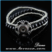 China Manufacturer Fashion Silver Flower Ginger Snap Charms Fit Snap Button Bracelet