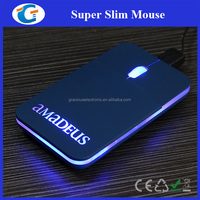 Cheap Laser Engraved Lighting Logo Flat Computer Mouse