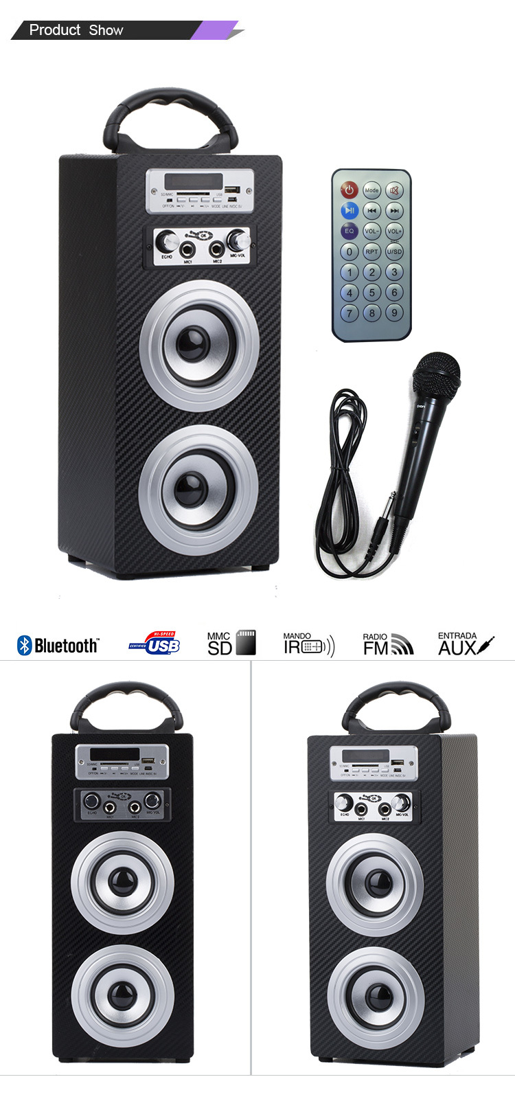 Bluetooth Wood Speaker with Karaoke KBQ-603