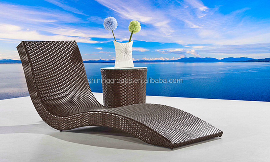 Rattan s shape pool chaise lounge chair sun bed buy for S shaped chaise lounge chairs