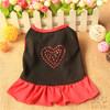 Black Dog Dress Shirt Love Rhinestone Red Hem Pet Clothes For Sale