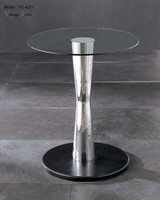 Triumph office side table marble base/steel frame end table/popular design round coffee table with glass top