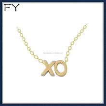 Custom alphabet 14k gold XO necklace