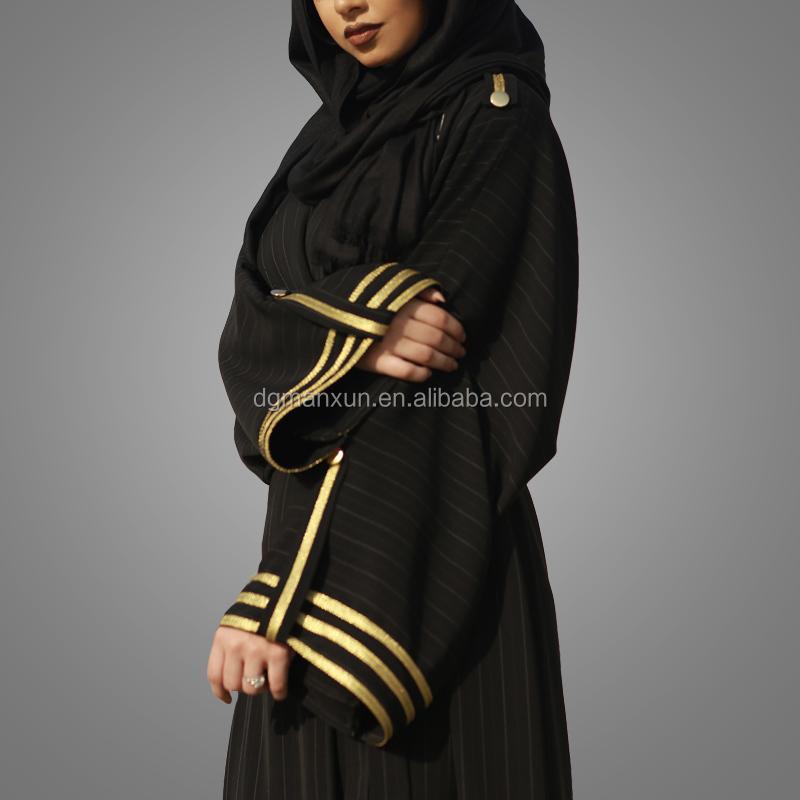 Gold Trimming Kimono Sleeves Strap Pattern Modern Kimono Maxi Hijab Kaftan Islamic Open Ab (2).jpg