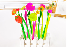 2015 New desing high quality creative lovely flower silicone rubber ball pen