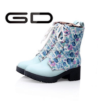 best selling fashion blue flower ladies horse riding boots for girl horse boot lace up