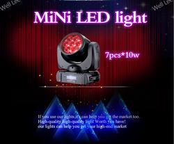 Hot 7 pcs 4 in 1 RGBW leds moving mini 7 10w 4in1 led moving head light
